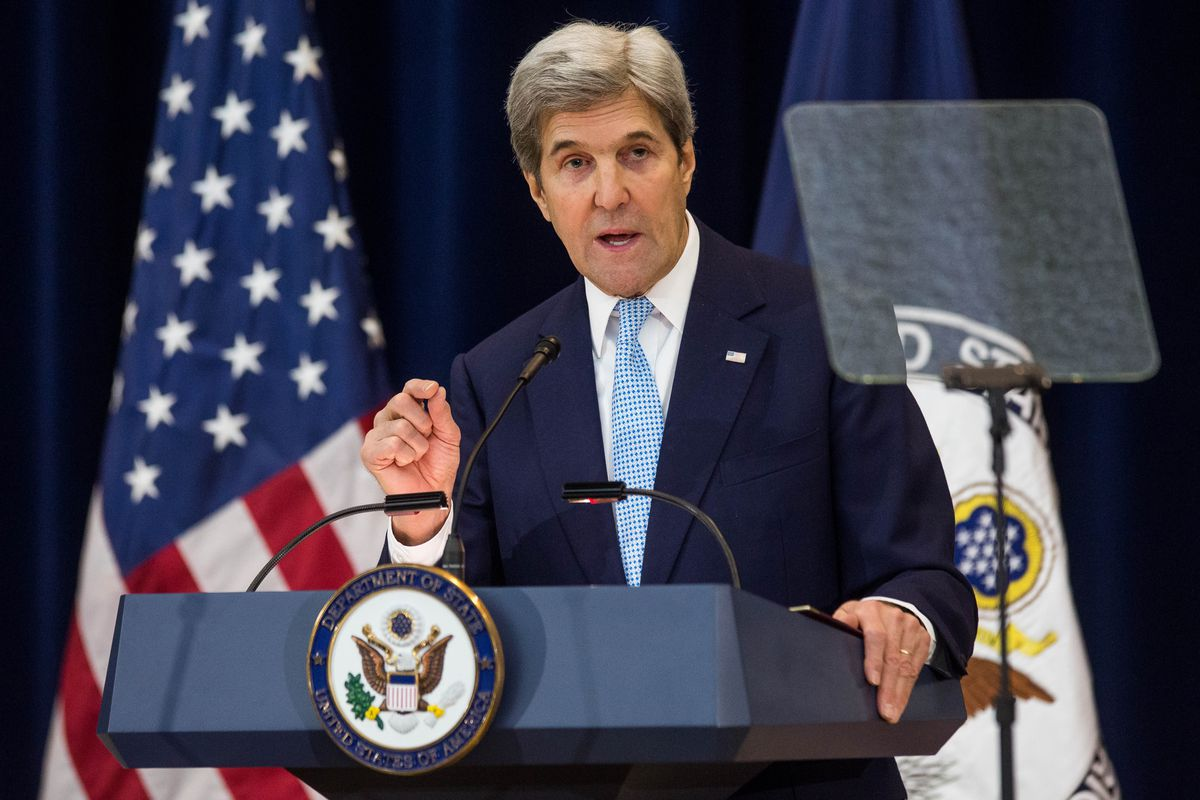 John Kerry Delivers Remarks On Middle East Peace At State Department
