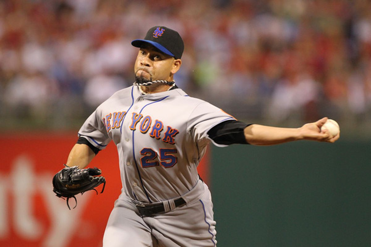 <strong>Pedro Feliciano</strong> pitching for the New York Mets in 2010. (Photo by Hunter Martin/Getty Images)