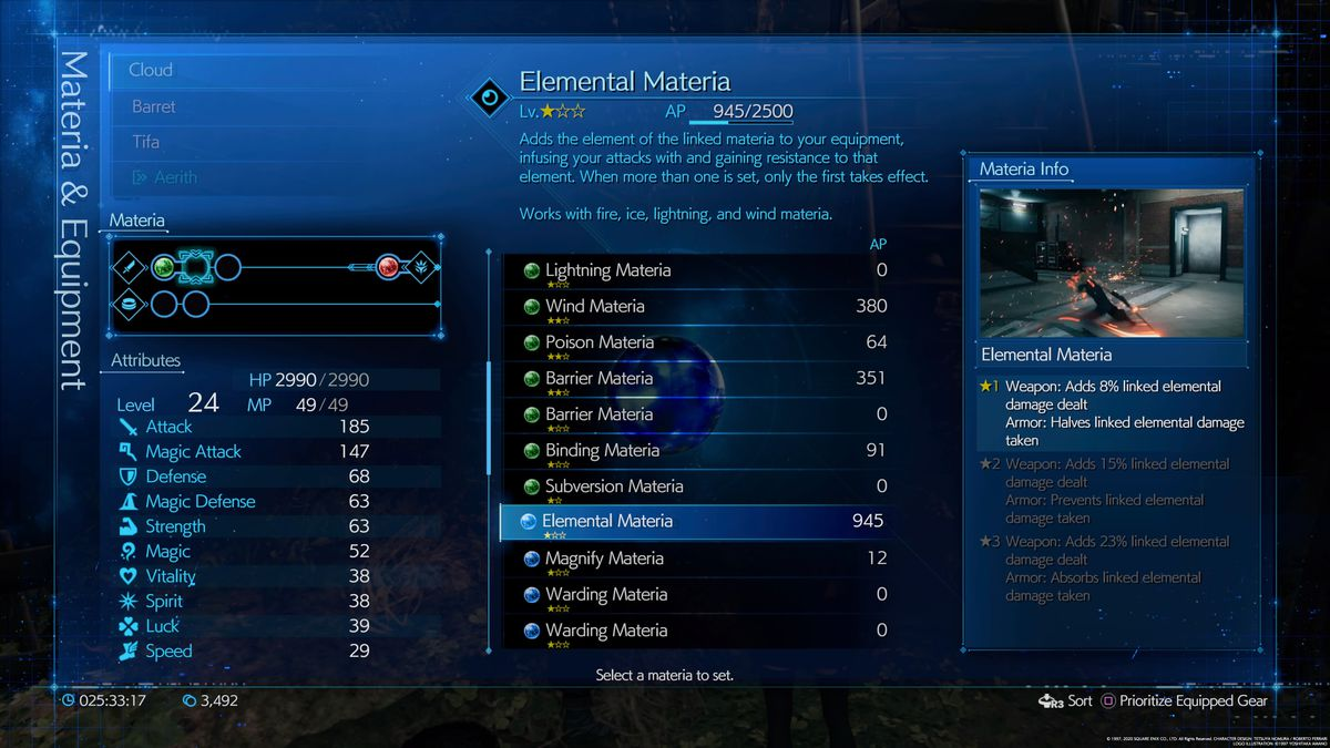 The information screen about the Elemental materia in the Final Fantasy 7 Remake