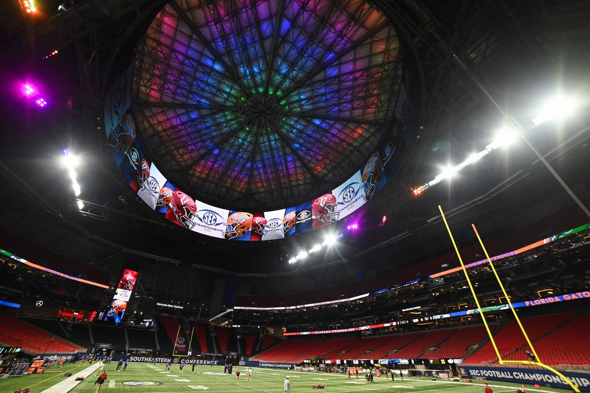 General view of Mercedes-Benz Stadium prior to the game between the Florida Gators and Alabama Crimson Tide.
