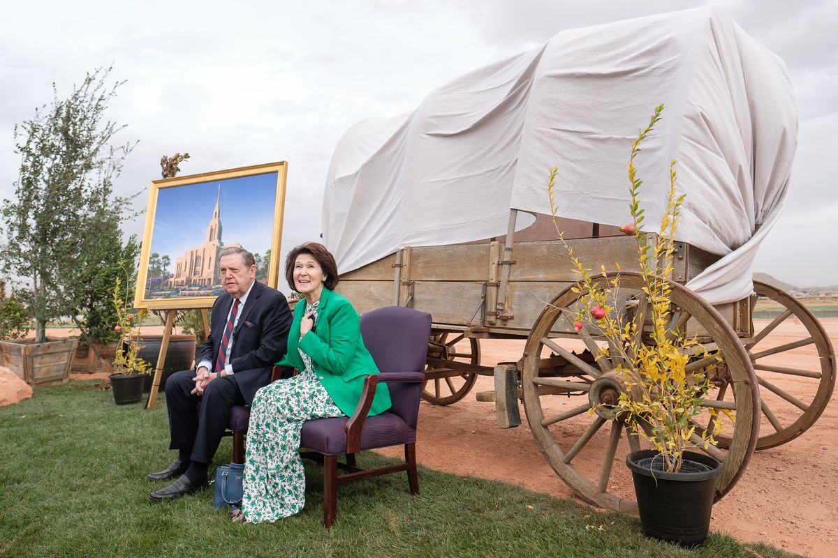 Elder Jeffrey R. Holland, of the Quorum of the Twelve of The Church of Jesus Christ of Latter-day Saints, and Sister Patricia Holland speak to the media following the groundbreaking service for the Red Cliffs Utah Temple in St. George, Utah, Saturday, Nov..7, 2020.