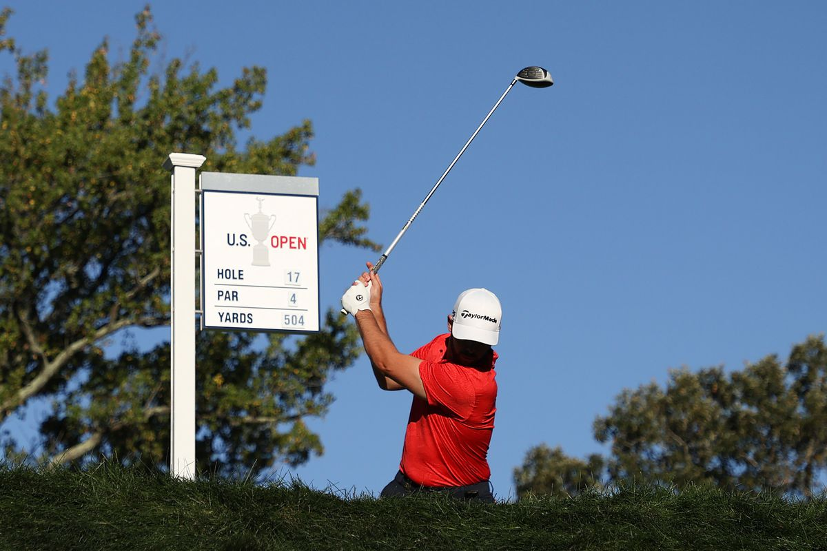 Matthew Wolff of the United States plays his shot from the 17th tee during the third round of the 120th U.S. Open Championship on September 19, 2020 at Winged Foot Golf Club in Mamaroneck, New York.