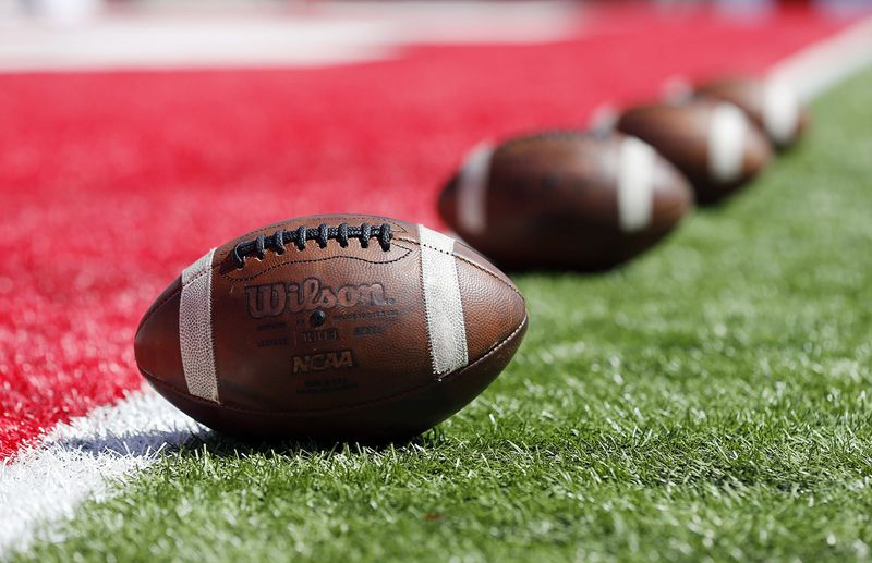 Footballs are lined up on the goal line before the Utah Utes face the Idaho State Bengals in NCAA football in Salt Lake City on Saturday, Sept. 14, 2019.