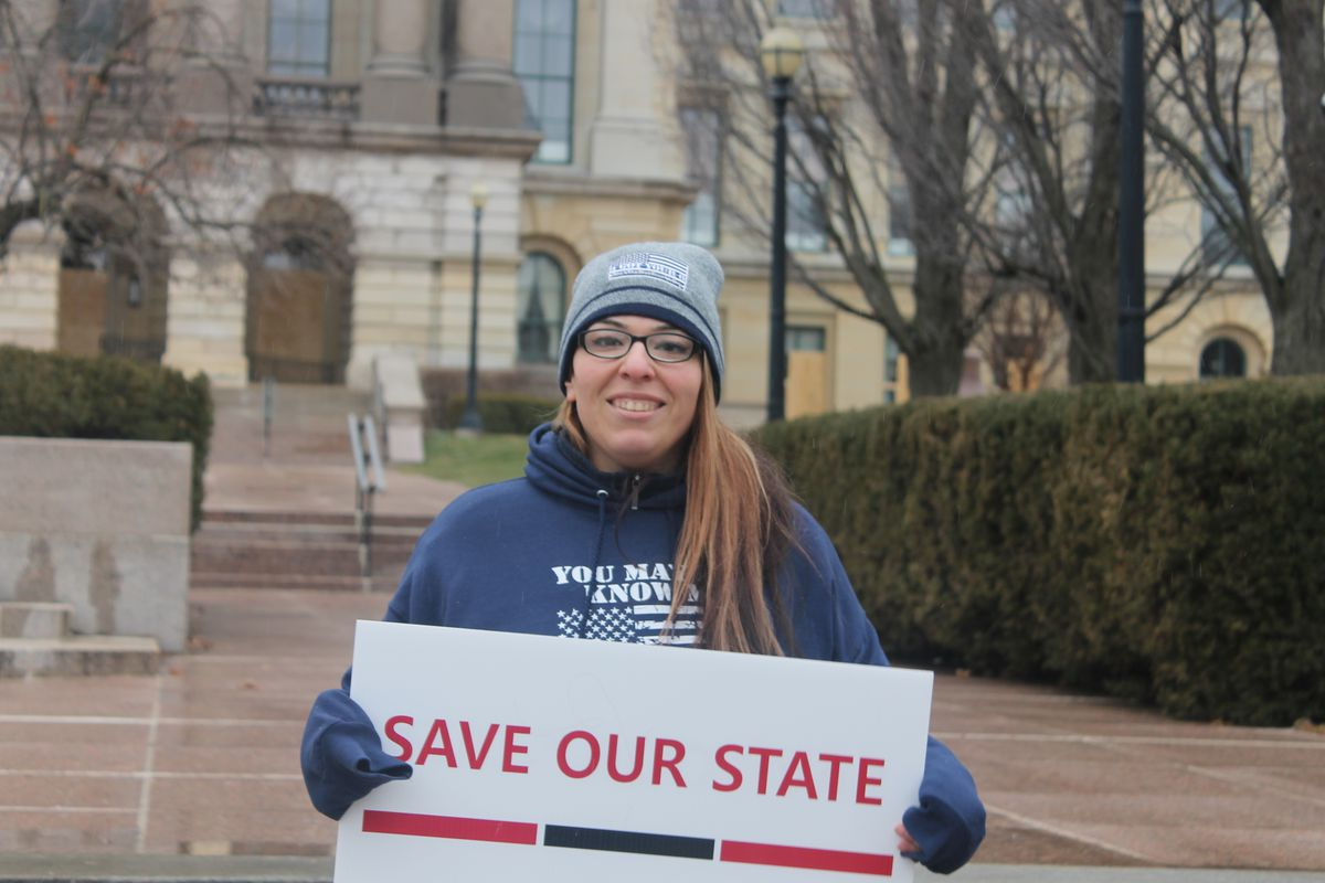 Protest organizer Ashley Ramos at the Illinois State Capitol on Saturday.