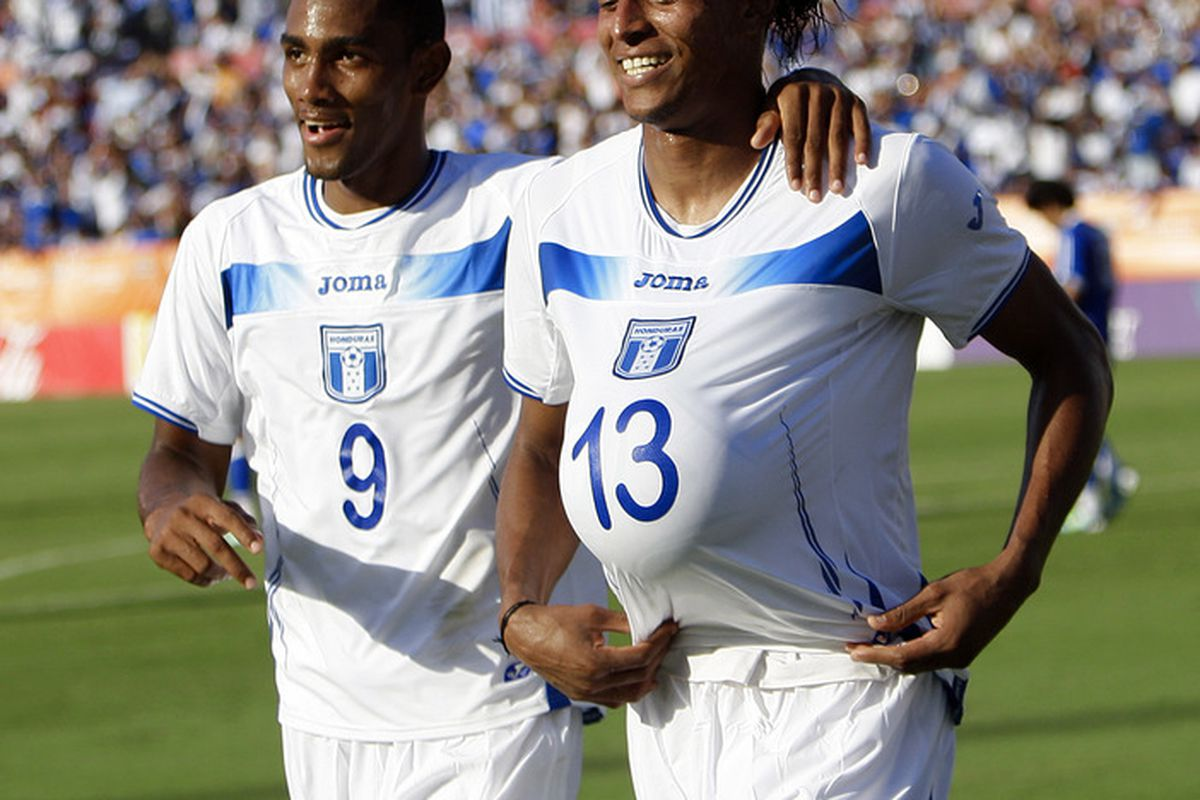 HOUSTON - MAY 29: Carlo Costly #13 of Honduras and Jerry Bengston #9 celebrate after Costly's goal in the first half against Honduras at Robertson Stadium on May 29, 2011 in Houston, Texas. (Photo by Bob Levey/Getty Images)