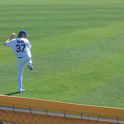 Travis Wood warms up before the game -