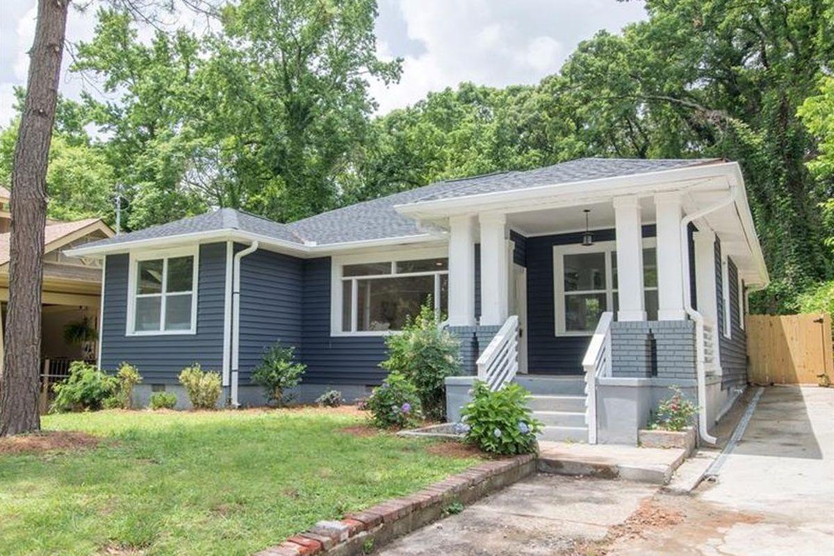 Front yard of a gray house in Atlanta's Westview neighborhood.