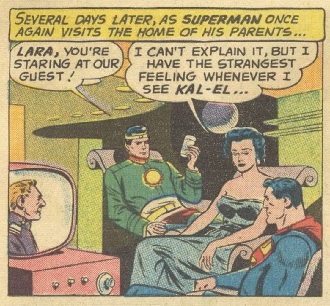 """Superman spends an evening with his friends as his mother stares at the man she doesn't know is her time-displaced son """"I can't explain it, but I have the strangest feeling whenever I see Kal-El,"""" she says, in Superman #141, DC Comics (1960)."""