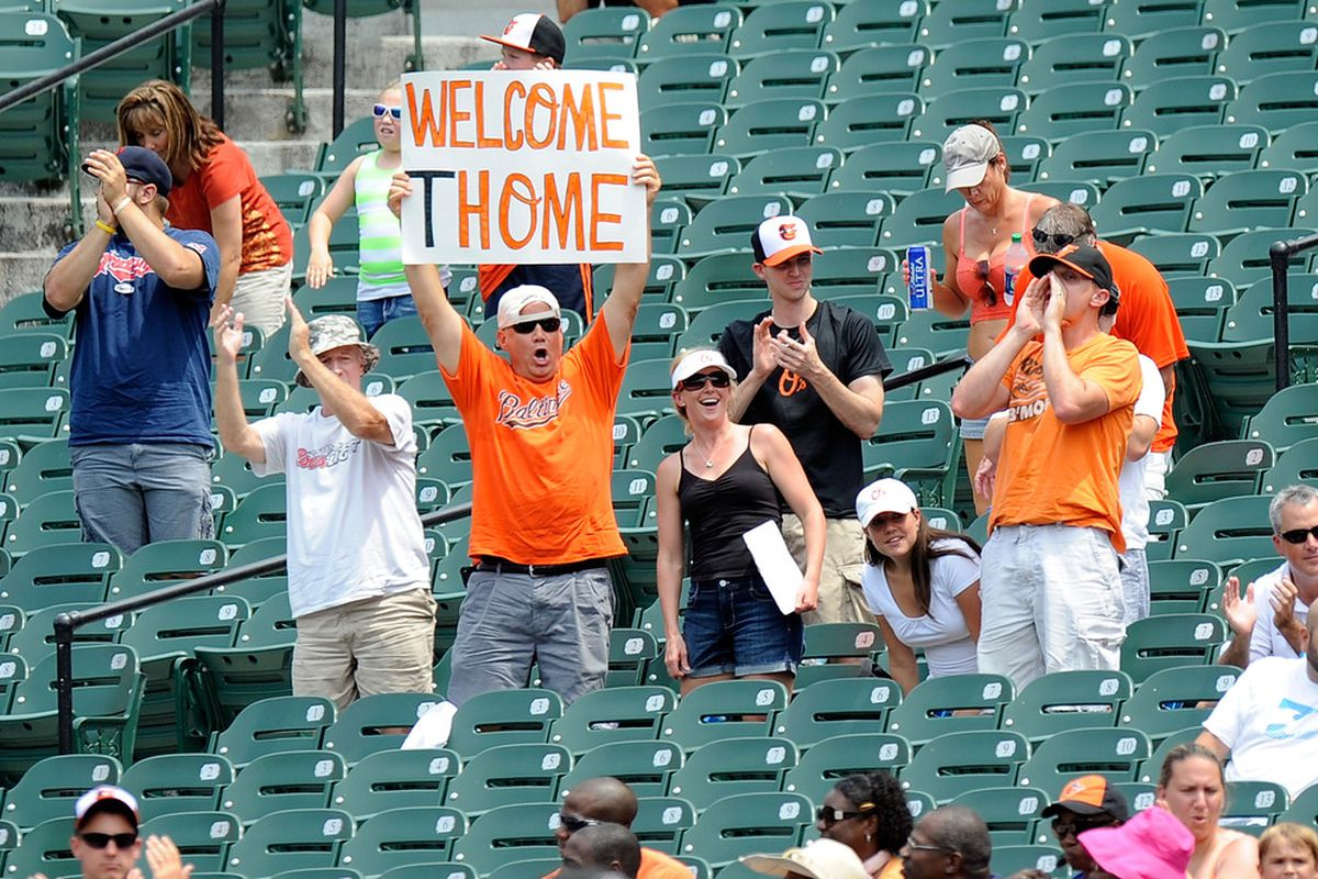 BALTIMORE, MD - JULY 01:  A fan hold up a Jim Thome sign during the game between the Baltimore Orioles and the Cleveland Indians at Oriole Park at Camden Yards on July 1, 2012 in Baltimore, Maryland.  (Photo by Greg Fiume/Getty Images)