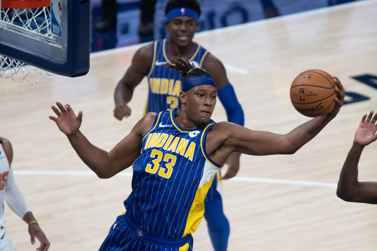 Indiana Pacers forward Myles Turner grabs a rebound against the Phoenix Suns in the first quarter at Bankers Life Fieldhouse.