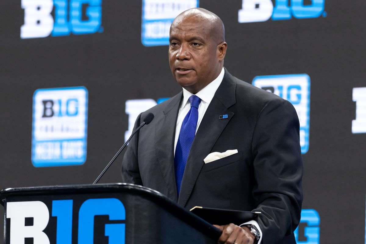 Big Ten Commissioner Kevin Warren speaks during the Big Ten Football Media Days at Lucas Oil Stadium on July 22, 2021 in Indianapolis, Indiana.