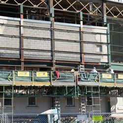 10:38 a.m. A close look at the work taking place just underneath the marquee -