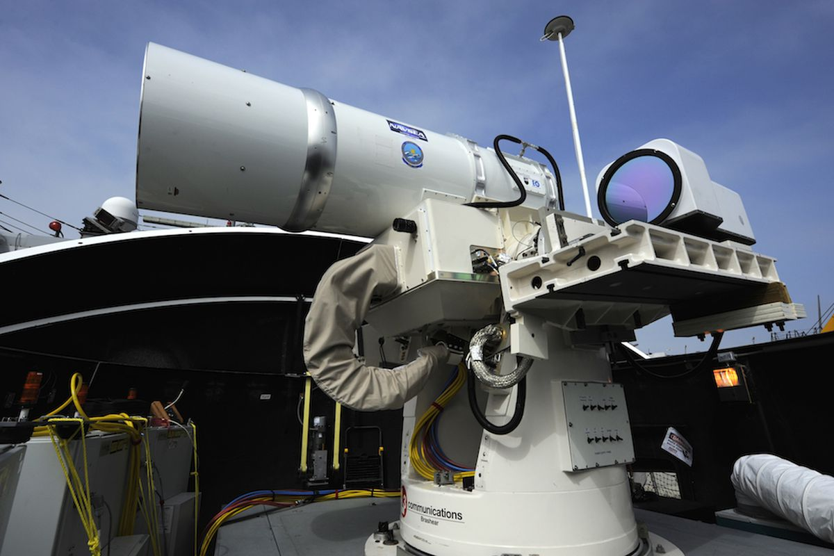 Navy solid state laser cannon