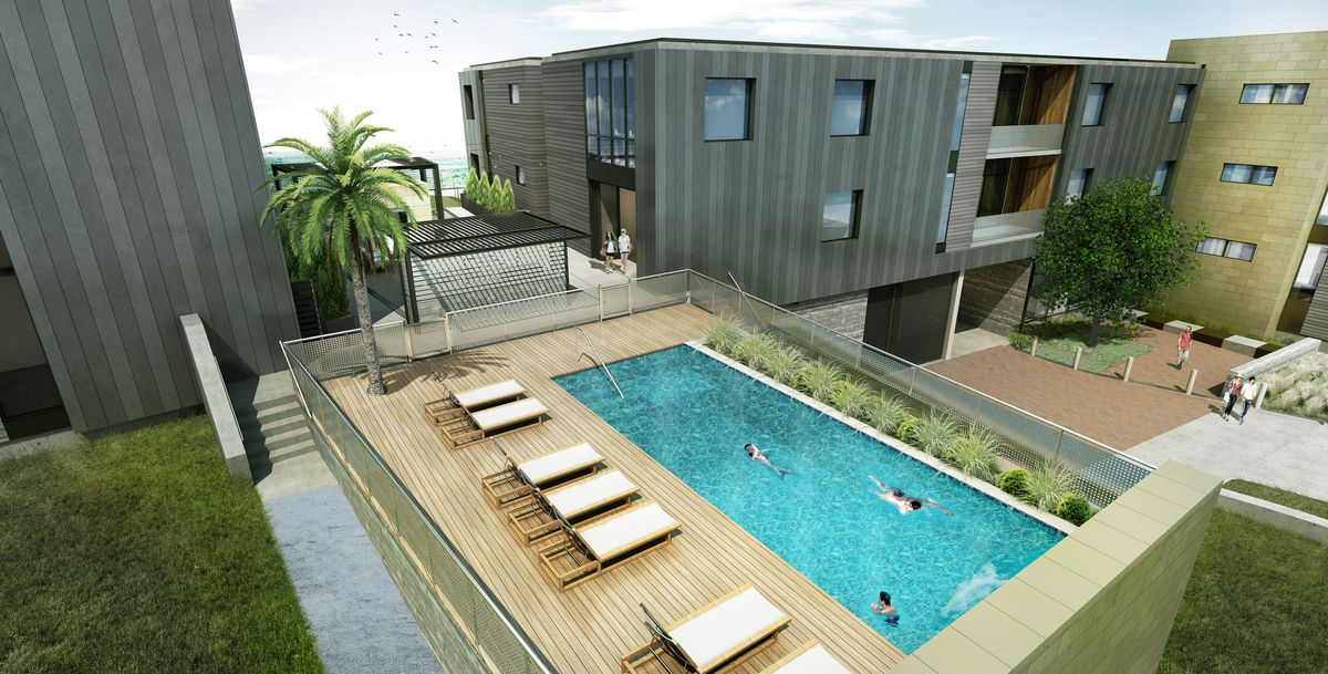 Contemporary buildings with courtyard and pool