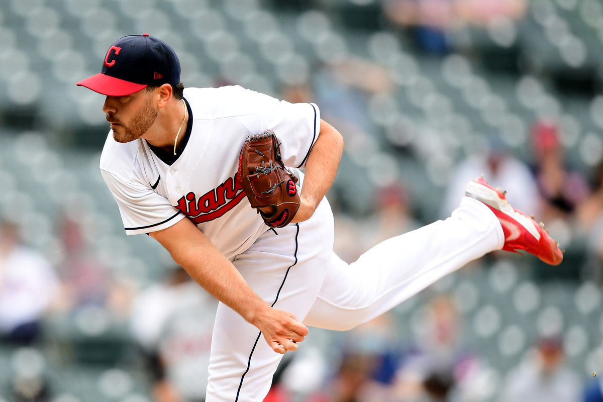 Aaron Civale #43 of the Cleveland Indians delivers a pitch in the first inning against the Detroit Tigers during a game at Progressive Field on April 10, 2021 in Cleveland, Ohio.