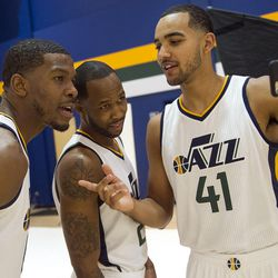 Utah Jazz forward Trey Lyles streams live video with his teammates during Media Day at Zions Bank Basketball Center in Salt Lake City on Monday, Sept. 26, 2016.
