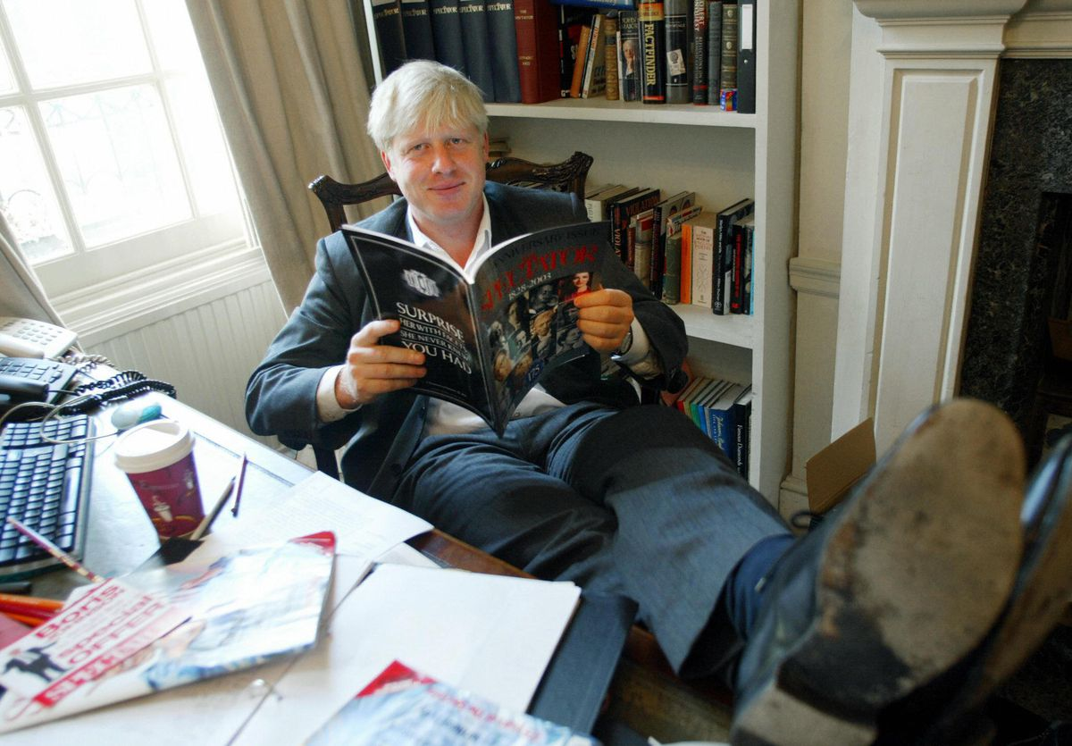 Boris Johnson, editor of the Spectator magazine on the time, sits in his London quandary of labor discovering out the anniversary declare of the magazine to sign a hundred seventy five years of publication, on September 25, 2003.
