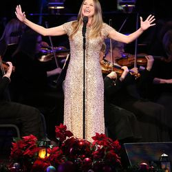 Broadway star Sutton Foster sings during the Mormon Tabernacle Choir Christmas concert in Salt Lake City on Thursday, Dec. 14, 2017.