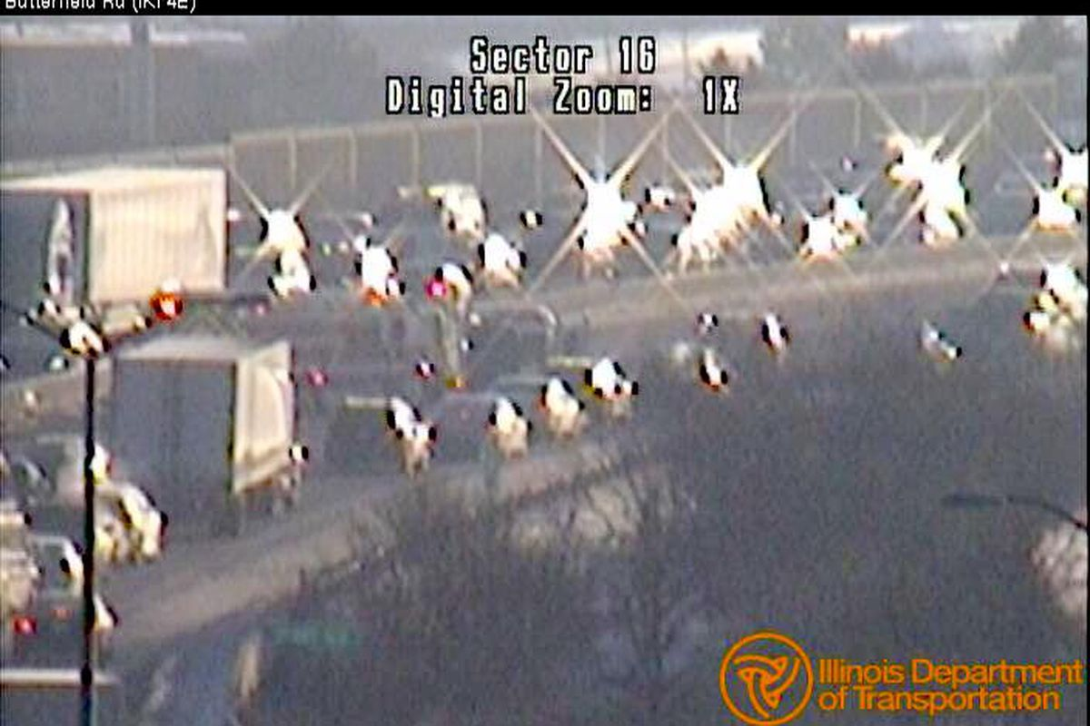 Traffic was backed up Wednesday on I-290 at Wolf Road for a crash.