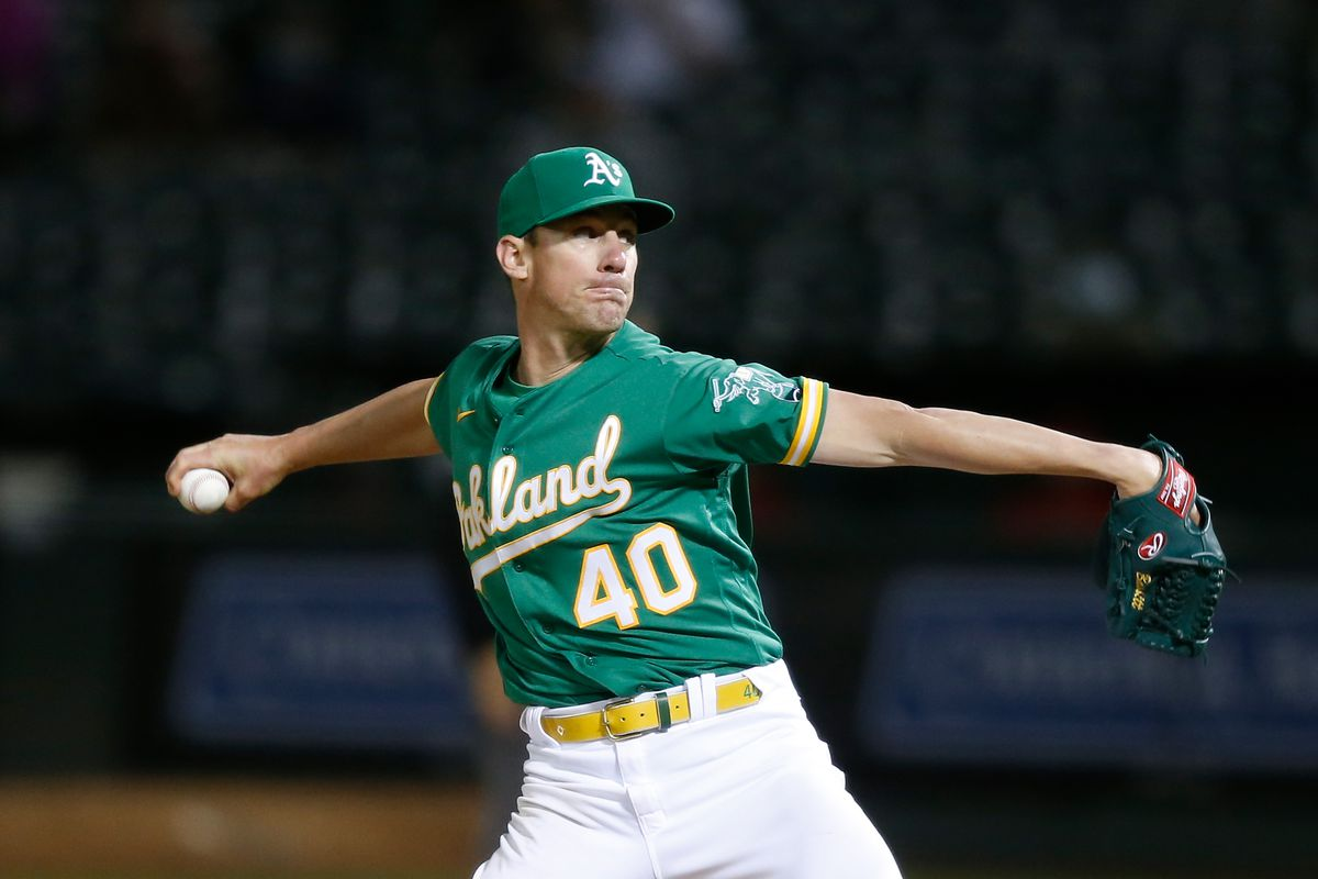 Starting pitcher Chris Bassitt #40 of the Oakland Athletics pitches in the top of the ninth inning against the Los Angeles Angels at RingCentral Coliseum on May 27, 2021 in Oakland, California. The Athletics defeated the Angels 5-0.