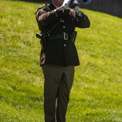 Utah Highway Patrol trooper Austin Ipson plays tapsduring the annual Utah Police Memorial Service at the Capitol in Salt Lake City on Thursday, May 6, 2021. During the service, police officers, family, friends and community leaders honored the 147 Utah police officers killed in the line of duty.