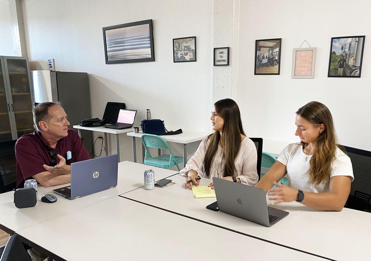 From left, Andrew Fogaty, 36Squared's executive director, serves as a mentor to entrepreneurs like Breece Eagar, 23, and her business partner Charlotte Trecartin, 21.