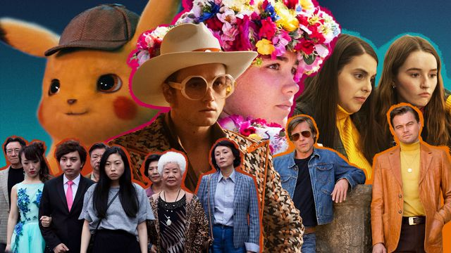 Photo composition featuring stills from the movies Detective Pikachu, Midsommar, Rocketman, The Farewell, Once Upon a Time ... in Hollywood, and Booksmart.