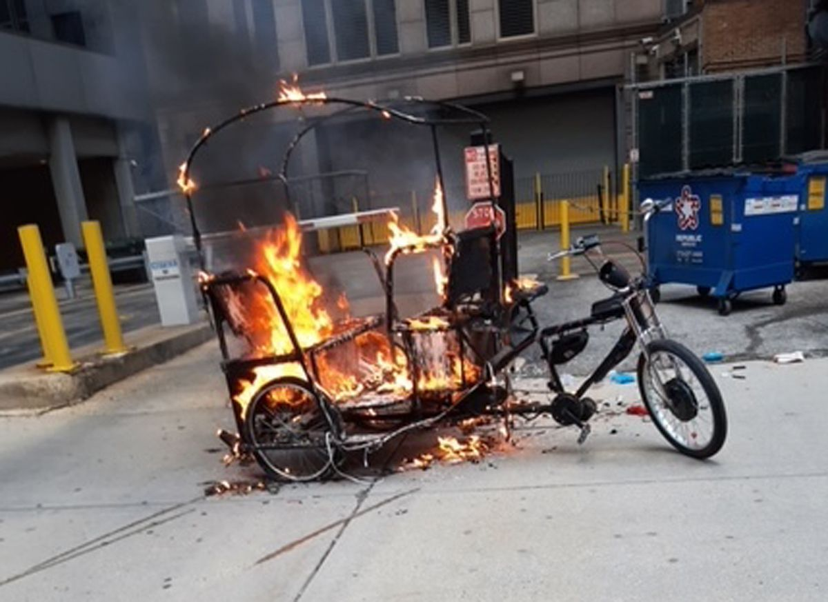 Ald. Brendan Reilly sent this photo to the Sun-Times on July 20, 2021 that he said was a pedicab that had caught fire because an electrical short in its sound system.