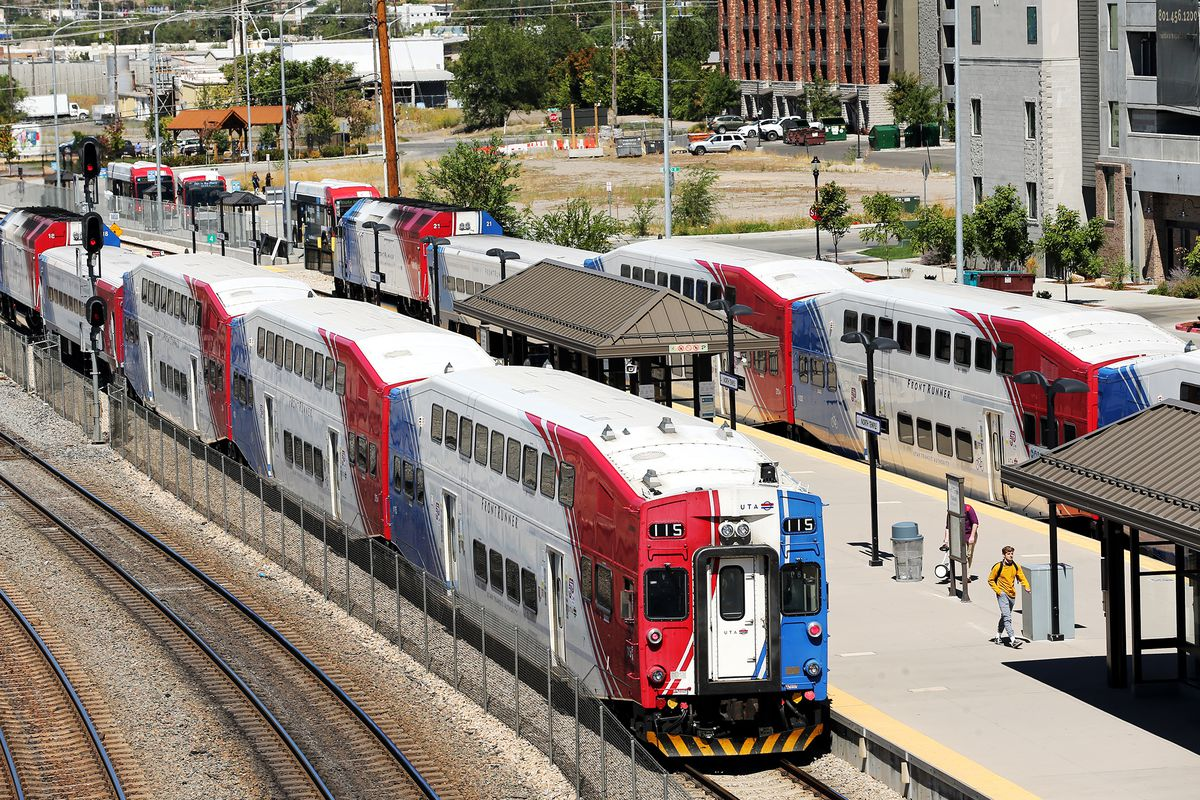 FrontRunner trains move people in Salt Lake City on Tuesday, Sept. 1, 2020.