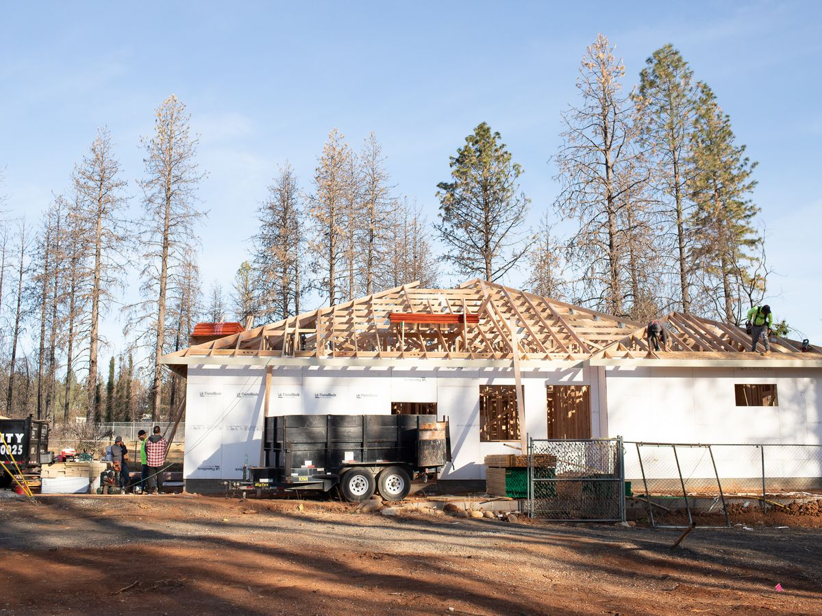 A house in Paradise, California being built.