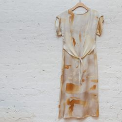 """""""Really into this unique """"watermark"""" print that creates an abstract pattern in warm sunny hues. It's the perfect intro to a spring wardrobe update."""" <b>Kieley Kimmell</b> Tie waist dress, <a href=""""http://www.spiritualameri.ca/new-arrivals/tie-waist-dress."""