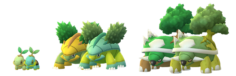 Shiny and normal Turtwig, Grotle, and Torterra side by side.