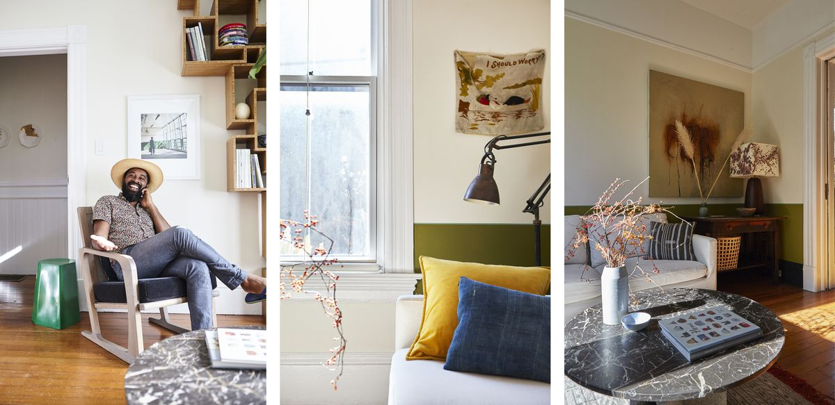 Three images of the living room; 1 portrait of George in the living room and 2 details of the space.