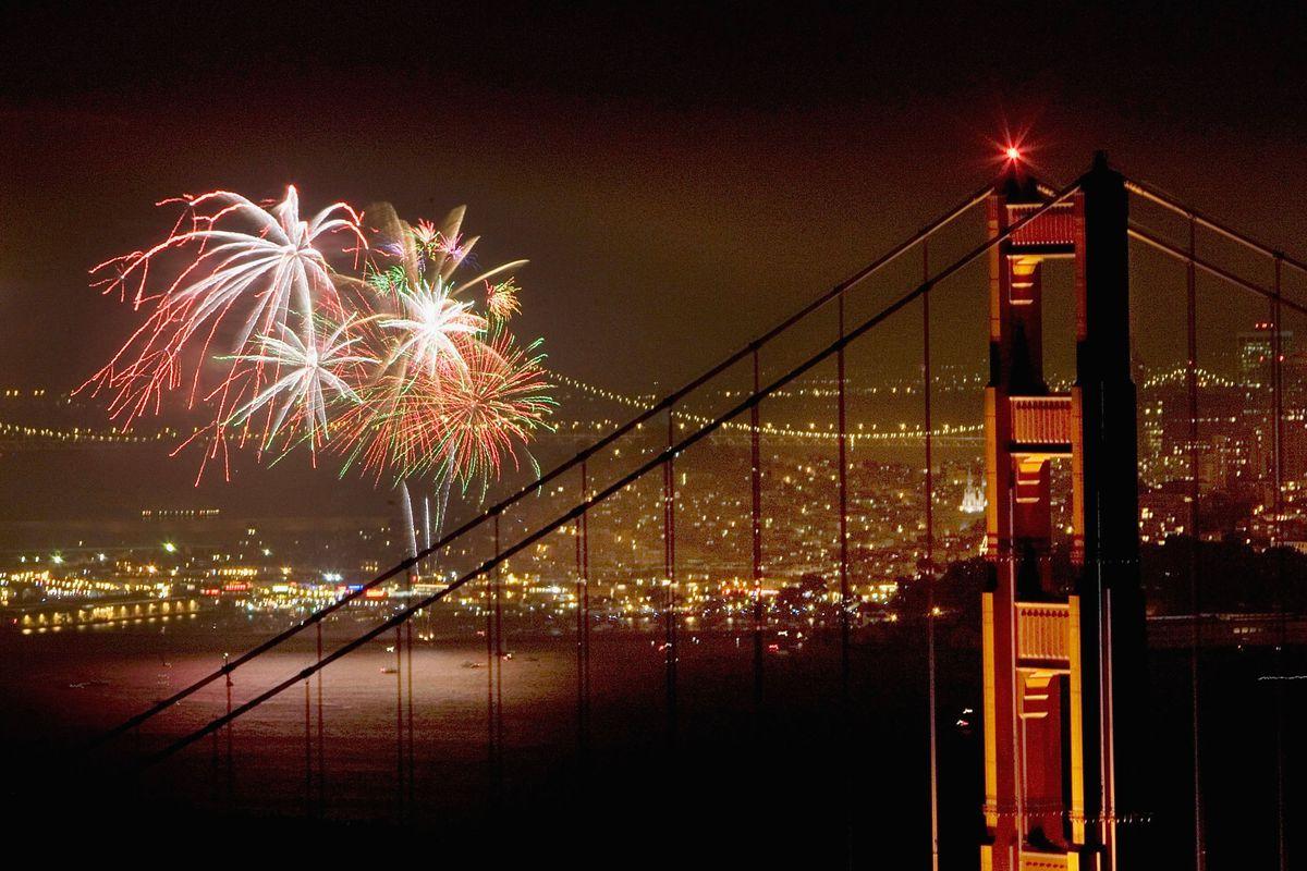 Fireworks Light up Golden Gate Bridge On Independence Day