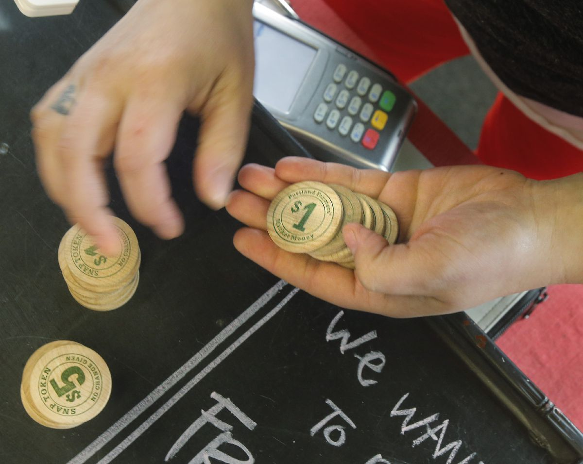 SNAP tokens in Portland, Maine farmer's market