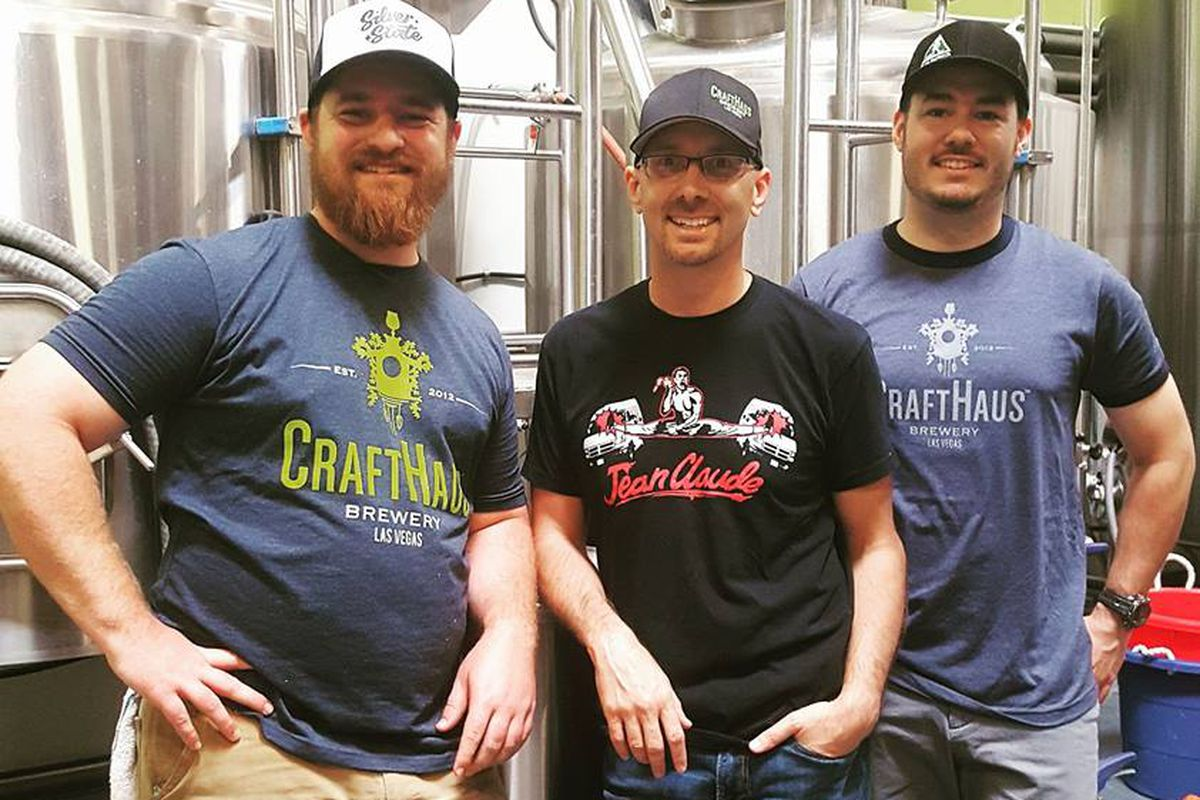 Assistant brewer Bryson Bauducco, left, and right, head brewer Cameron Fisher at CraftHaus