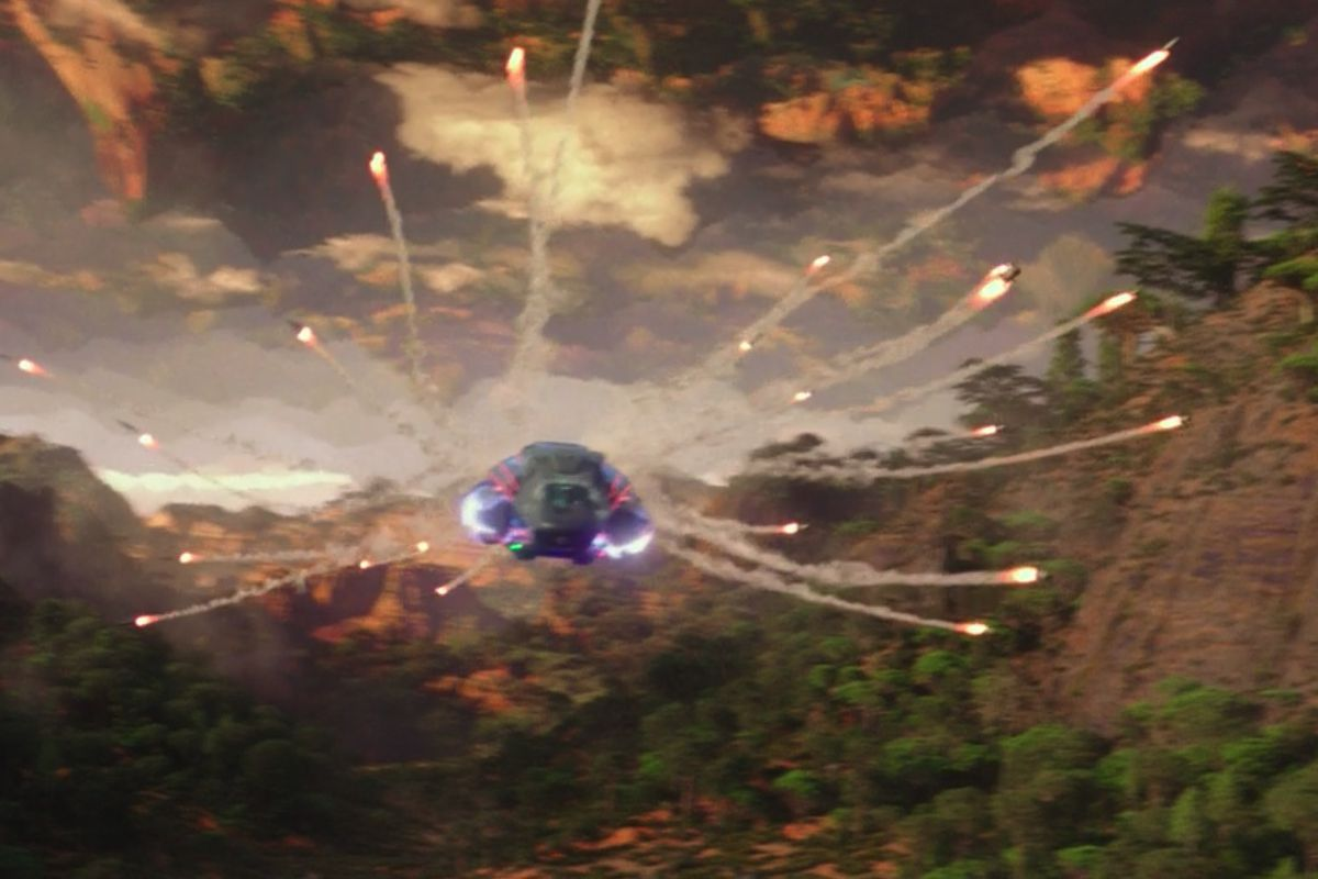 A hovercraft fires a flurry of missiles in unison in Godzilla vs. Kong