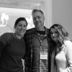 """After the final scene wrapped, Insiders, cast and crew helped themselves to hors d'oeuvres and fun. Insiders Dennis Conover from Hamilton, OH enjoyed some quality time with This Old House landscape contractor Jenn Nawada (left) and his wife Tracy (right). """"The show introduced me to renovations and old houses, and I fell in love instantly,"""" Conover said."""