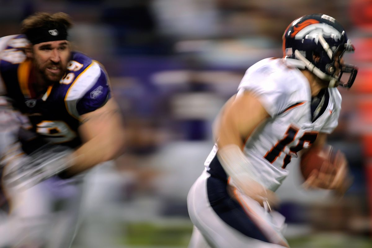 Bold prediction: we probably won't see a helmetless Jared Allen chasing Tim Tebow this time.