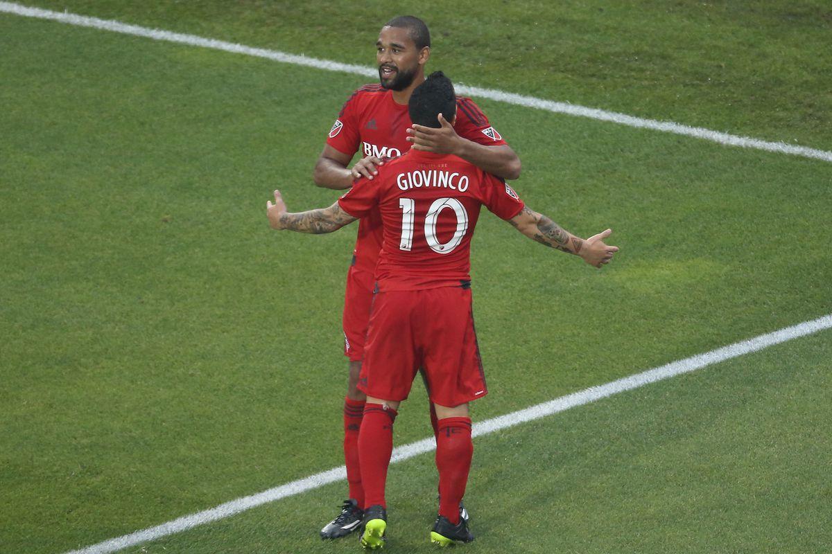 Luke Moore celebrates his only goal of the season with Sebastian Giovinco