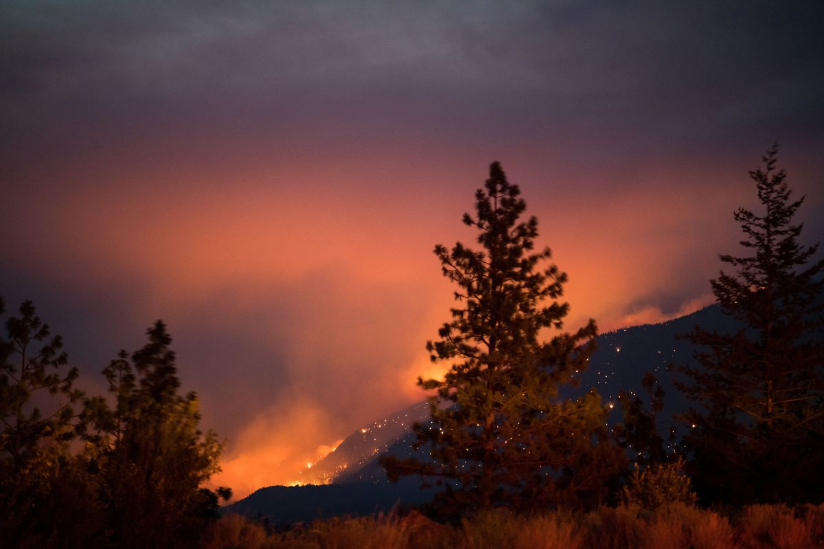 Wildfires burn above the Fraser River Valley near Lytton, British Columbia, Canada
