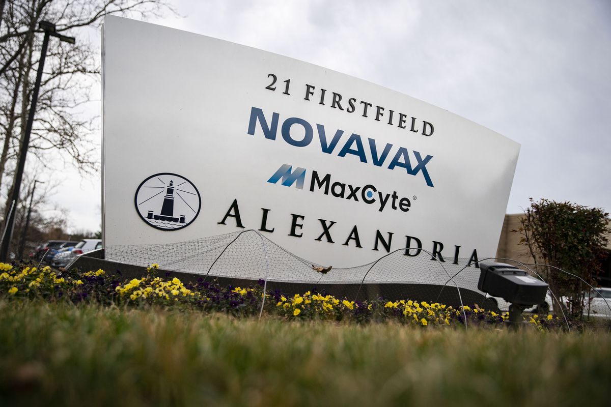Signage outside the Novavax Inc. headquarters in Gaithersburg, Maryland, on March 12, 2021.