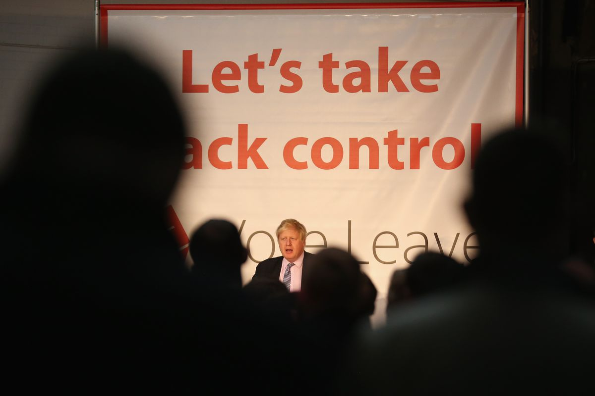 """Boris Johnson with """"Let's take back control"""" sign"""