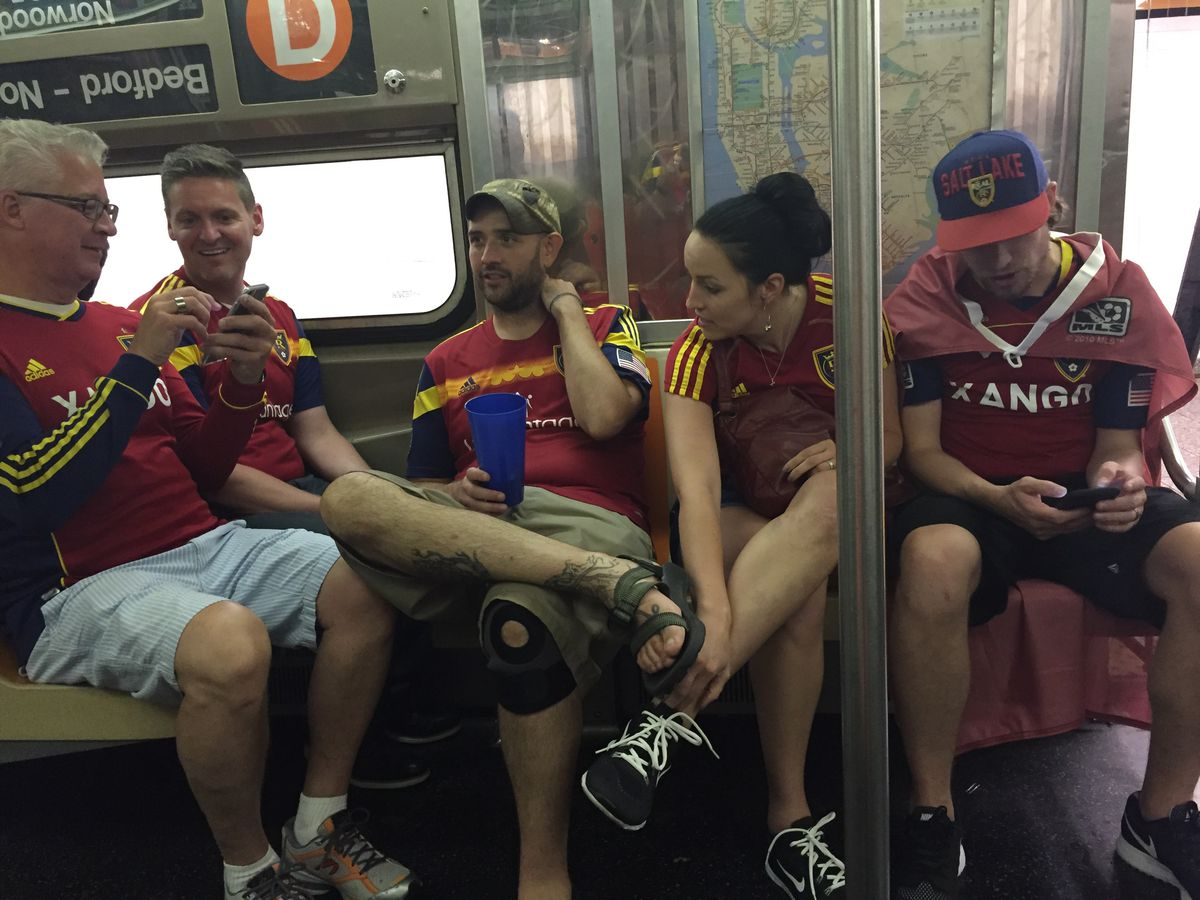 RSL fans on the NYC subway