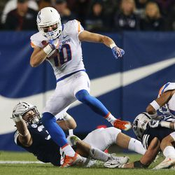 Boise State Broncos safety Kekoa Nawahine (10) intercepts the ball from BYU in Provo on Friday, Oct. 6, 2017.