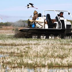 Sam Nelson, left, and Seth Summerhays, both with theSalt Lake Mosquito Abatement District, use a track machine to spray VectoBac 12AS, a biological larvicide, to kill mosquito larvae in the wetlands north and west of Salt Lake City on Friday, May 28, 2021.