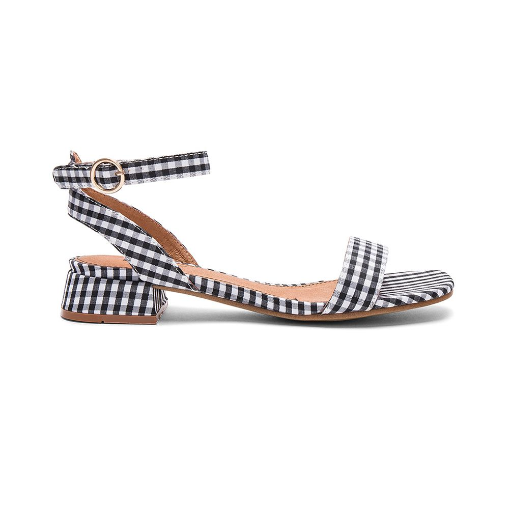 black and white gingham sandals