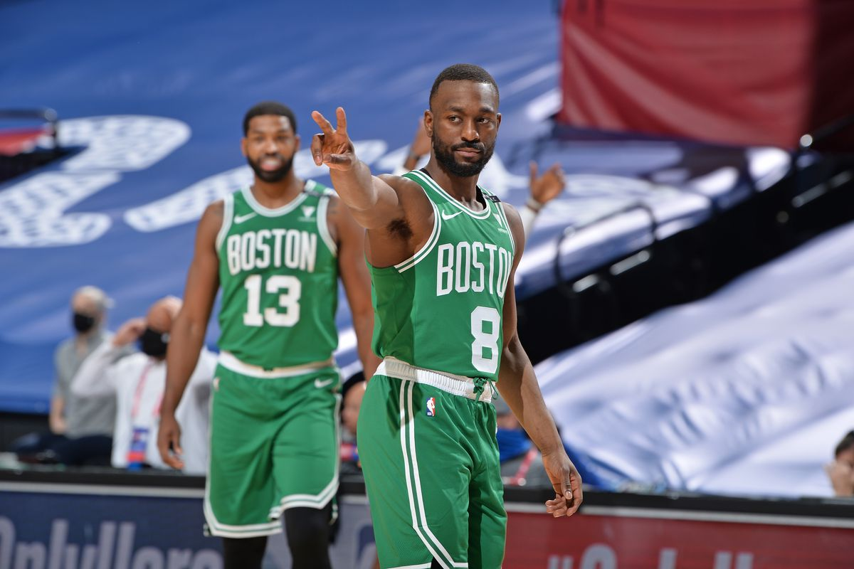 Kemba Walker of the Boston Celtics calls out a play during a game against the Philadelphia 76ers on January 20, 2021 at Wells Fargo Center in Philadelphia, Pennsylvania.