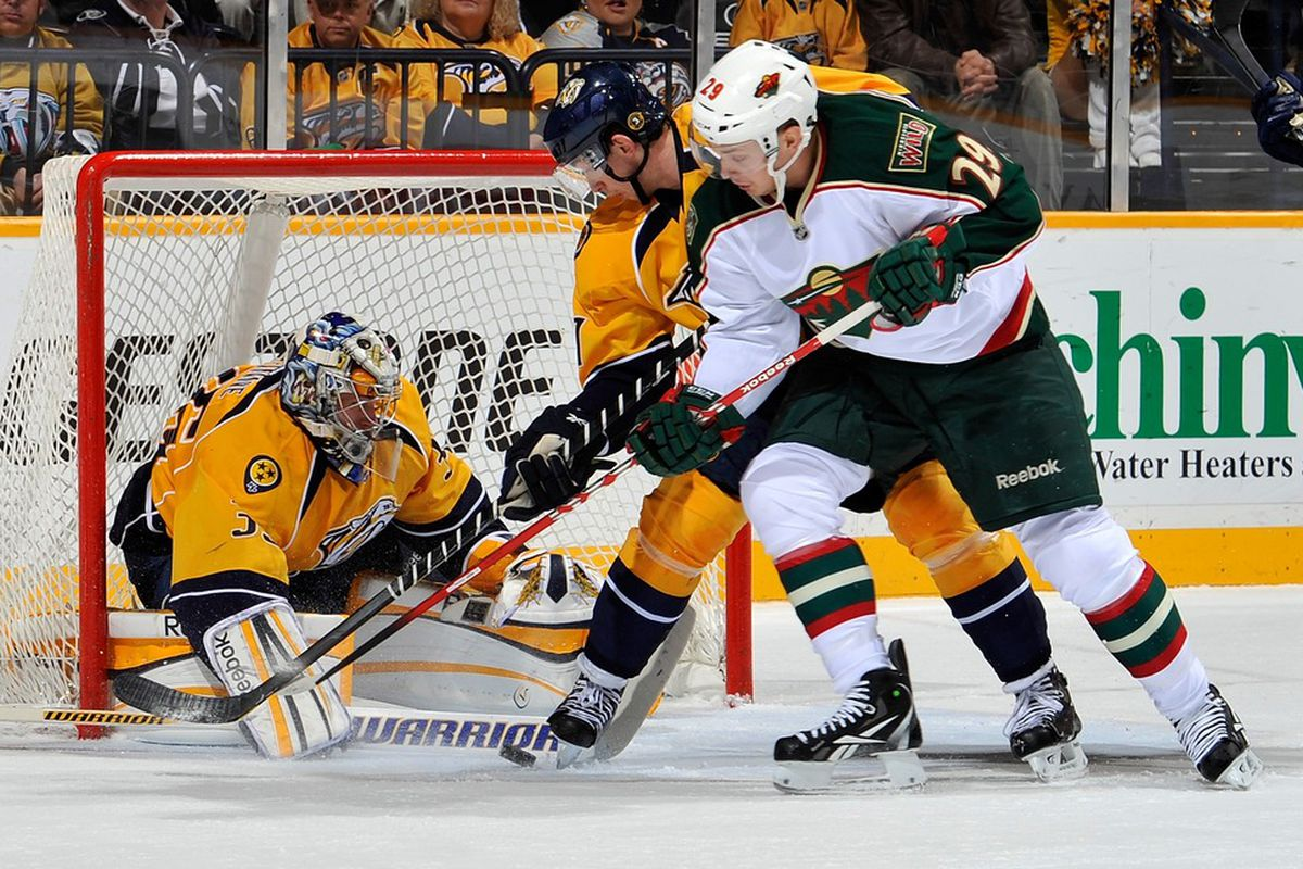 Someone forgot to tell him the Wild don't go near the net.