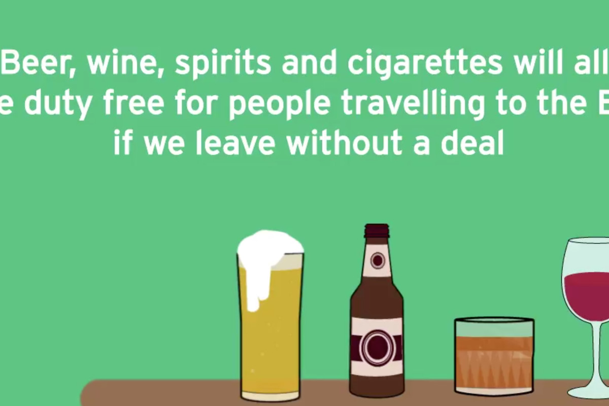 An advert depicting HM Treasury's announcement that in the event of no deal Brexit, duty free shopping will return